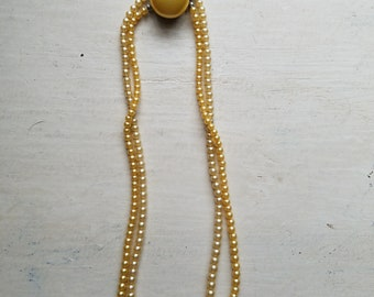 Vintage Double Strand Faux Pearl Necklace Yellow Pearls