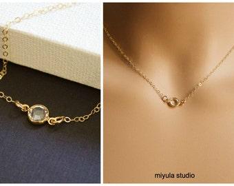 Birthstone Necklace, Custom Birthstone Jewelry, Tiny Birthstone Necklace, Birthday Gifts, Gold  or Sterling Silver , Personalized Birthstone