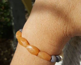 Orange aventurine and coconut shell