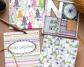 PACK OF 4 Bright Zentangle Christmas Doodle Greetings Card Pack