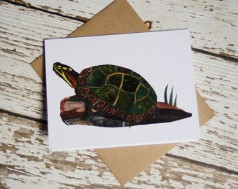 Painted Turtle Greeting Card of Original Collage