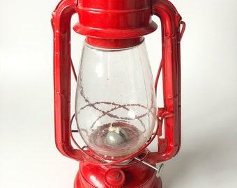 Vintage Red Lantern , Winged Wheel Lantern No 500 , Railroad Lantern , Rustic Home Decor