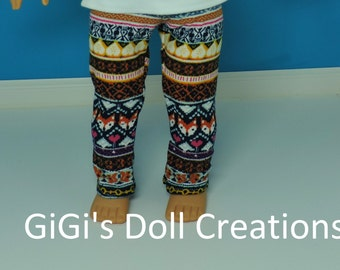 Doll Leggings fits the 18 inch American Girl Doll, Doll clothes, Foxes, Squirrels, Aztec Print, AG doll Clothes, Handmade