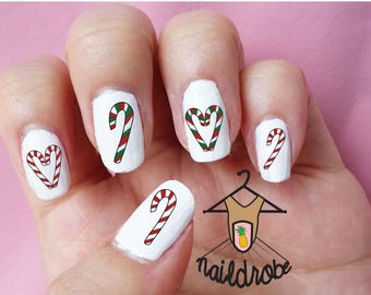 30 Candy Cane Christmas Nail Decals  (Waterslide Nail Decal)