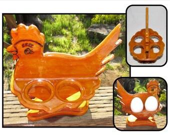 Vintage Chicken Shaped Tabletop Wooden Breakfast Boiled Egg Holder, handmade