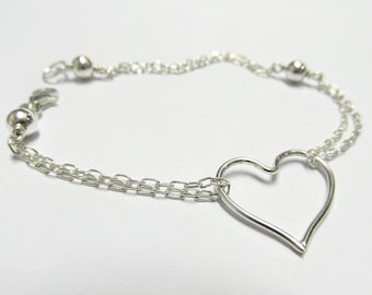 Sterling Silver Love Heart Bracelet