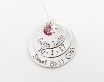 Personalized Memorial Necklace - Custom Message - Memorial Necklace - Sterling Silver - Memorial Jewelry