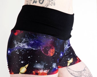 Planet Space Cadet Fold Over Shorts. Pole Dance Shorts. Pole Fitness Shorts. Booty Shorts. Yoga Shorts. Space Shorts. Galaxy Shorts.