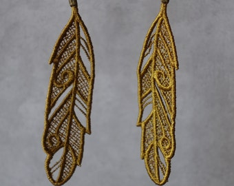 Feather Embroidered Lace Earrings