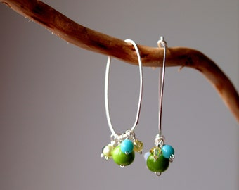 Interchangeable sterling silver dangling earrings in kiwi and turquoise