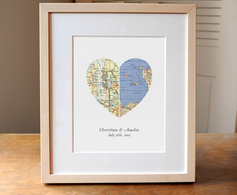 Heart Map Wedding Gift Anniversary Gift Engagement Gift