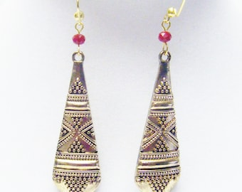 Antique Brass Textured Tribal Market Earrings