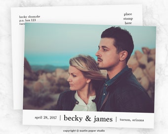 Minimal Double-Sided Photo Save The Date Printable Customized Engagement Announcement