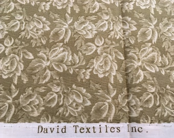 Green and Cream Cotton Fabric, David Textiles, Floral Fabric, Quilting Fabric, Half Yard