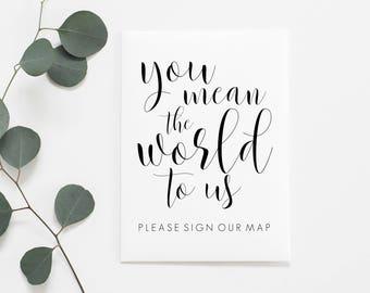Printable Sign Our Map. Sign Our Map Printable. Sign Our Map Sign. Map Guestbook. Map Guest Book. Wedding Map Guestbook. Wedding Map Sign.
