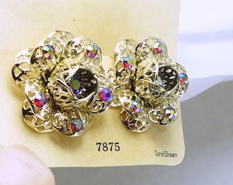 Gorgeous Earrings Sarah Coventry Gold AB Rhinestones Vintage Flowers Original Hangtag