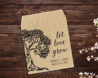 25 Let Love Grow Favors, Seed Packet Favor, Tree, Wedding Seed Packets, Woodsy, Rustic Wedding Favor, Wedding Favors, Personalized Favor