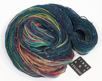 Donegal>> Fingering 100g 438 yd | Variegated Tweed Yarn Navy + Rainbow Colors | Superwash Merino Wool  Nylon | Galaxy And the Winner Is...