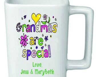 """Personalized 11oz Square """"Grandmas are Special"""" Mug"""