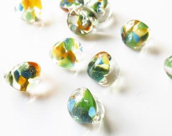 10mm Unicorne Tear Drop Lampwork Beads - Lush Palm - 4 Pieces - 22212