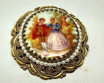 Vintage Ceramic Medallion Brooch