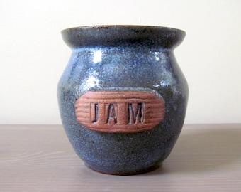 Vintage Stoneware Jam Jar in French Blue