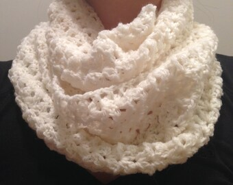 Soft White Handmade Infinity Crochet Scarf