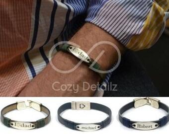 men personalized bracelet, custom engraved bracelet, name plate bracelet, personalized gifts for him, blue leather bracelet, gifts for dad