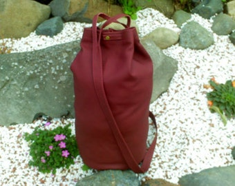 Leather duffel bag daysack totally handmade