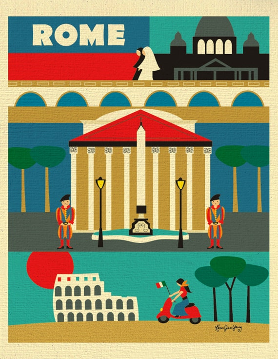 Rome Print Rome Wall Art Italy Travel Poster Rome Map Rome