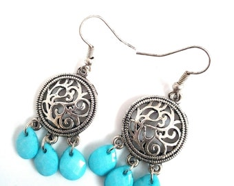 Handmade earrings with drops light blue