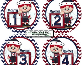 12 Monthly Baby Stickers Baby Month Stickers Baby Milestone Stickers Nautical Baby Shower Gift Baby Boy Onepiece Stickers Decals set