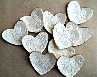 TEN Ceramic Ring Dish Bridal Shower Baby shower baptism favors Wedding Favors OFF WHITE lace Itty Bitty  heart bowls