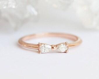 Infinity Ring, Infinity Diamond Ring, Bow Tie Ring, Diamond Bow Tie Ring, Rose Gold Diamond Ring, Delicate Engagement Ring, Pear Diamond