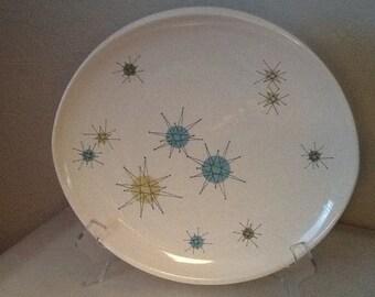 "Franciscan Starburst Atomic Design  Erathenware 11"" Plate oven Safe Made in the USA"