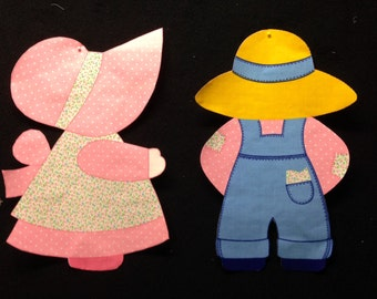 Vintage Sunbonnet Sue & Overhaul Sam Fabric Iron On Appliques  - OOP