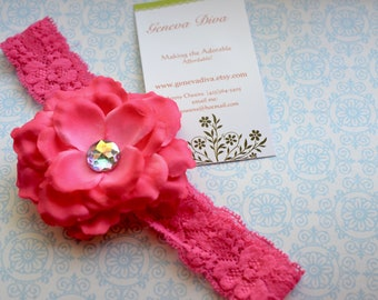 Pink Peony Flower Clip and Stretch Lace Headband