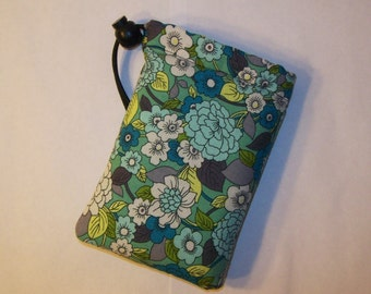 """Padded Pouch, Teal Floral Pipe Bag, Pipe Case, Padded Pipe Pouch, Stoner Gift, Cute Pouch, Hippie Bag, 420, Flower Pipe Cozy - 5"""" DRAWSTRING"""