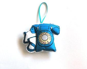 Christmas  Ornament: Blue Vintage telephone