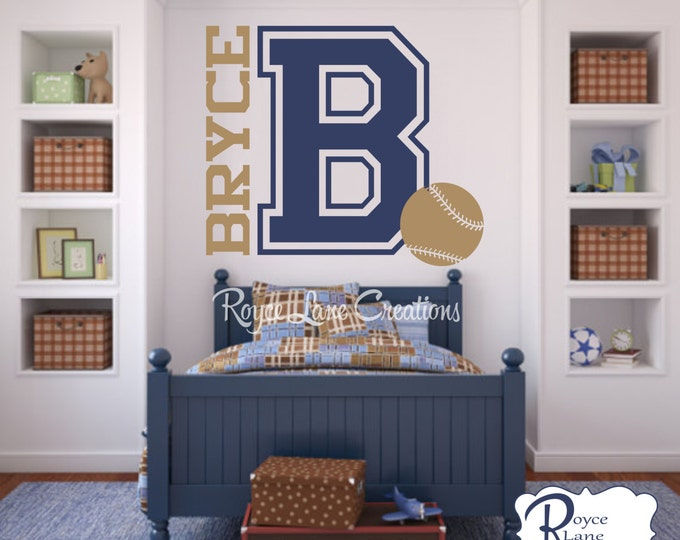 Varsity Letter Decal with Personalized Name and Baseball Decal B5-Baseball Wall Decal- Baseball Decor- Varsity Baseball-Boys Baseball Decal