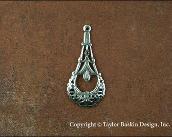 Antiqued Sterling Silver Plated Dapped Victorian Filigree Earring or Pendant Jewelry Drop (item 2835 AS) - 6 Pieces