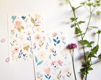 Floral cards, flowers cards, botanical cards illustrations, floral illustration, floral patterns, cards, thank you - botanical cards set