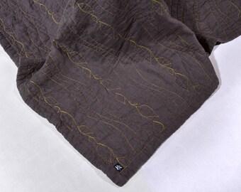 King Size Quilt Linen winter Blanket Dark Gray Quilted Linen StoneWashed Modern Quilt Organic Blanket Eco Bedding Neavier Linen Fabric