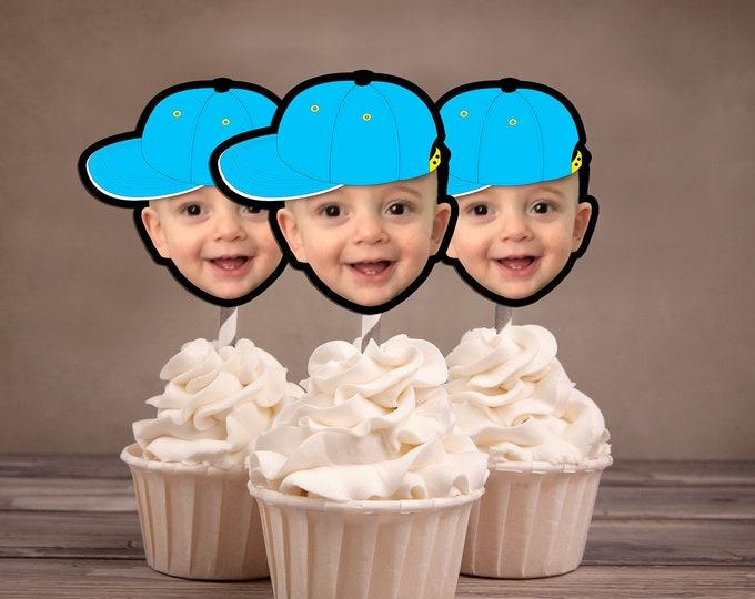 Photo Cupcake Toppers Digital File - Hip hop  birthday, baseball topper, boy birthday, Fresh Prince, Hip hop party decor, rap, 90s party
