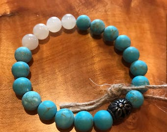Turquoise and Moonstone Mala Bracelet