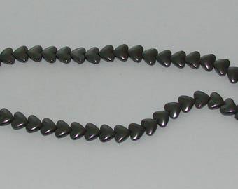 5 beads black Hematite heart 9x8mm
