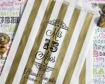 """125 Personalized Quinceanera Favor Bags, """"Mis 15 Anos"""", Sweet 15, Sweet 16 Custom Printed Favor Bags, Candy Bags, Cookie Bags, Popcorn Bags"""