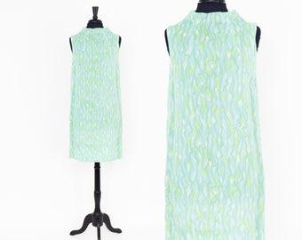 60s Blue Sleeveless Dress | Turquoise Blue Sleeveless Shift | Small