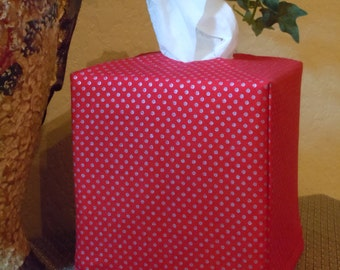 Ready To Ship -   Red with Silver Pin Dots  -  Fabric Tissue Box Cover