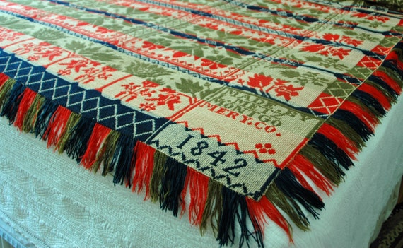 """Rare 1842 Antique AMERICAN One Piece Hand Made COVERLET L METZ Montgomery Co Cotton n Wool Tied Beiderwand Exc Condition 95""""x97"""" w/ Fringe"""
